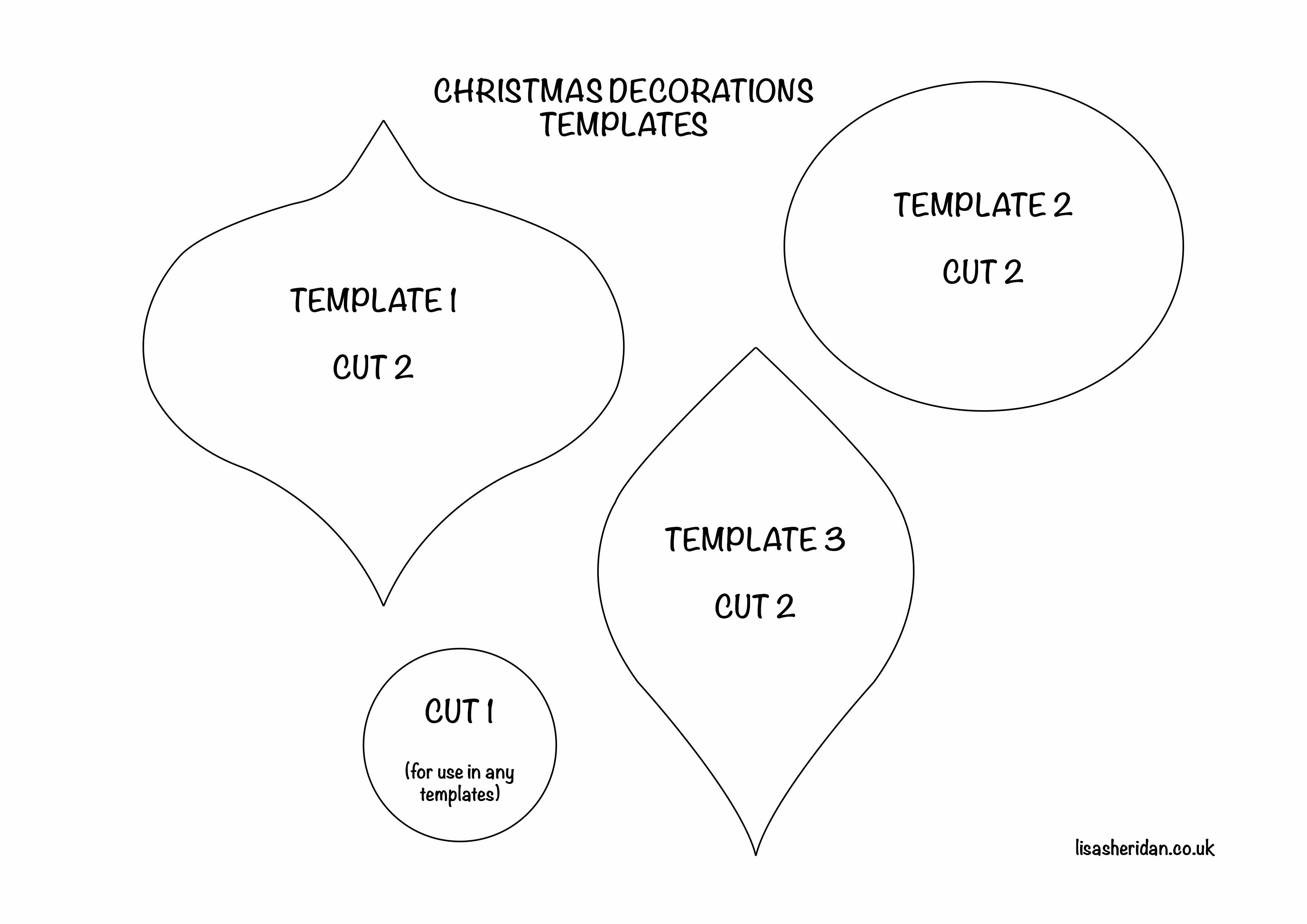 Christmas Ornament Shapes Cut Out Christmas Decorations Template